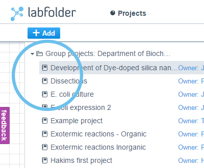 labfolder ELN organize projects