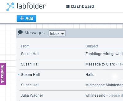 labfolder ELN message tool