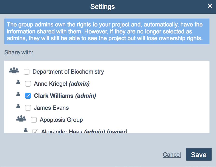 ELN share settings