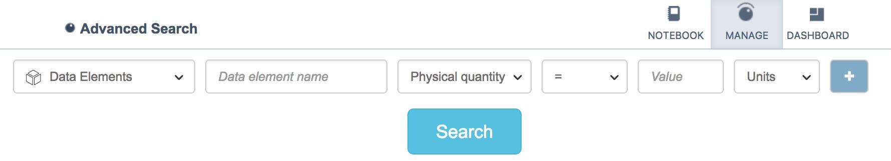 ELN data elements advanced search