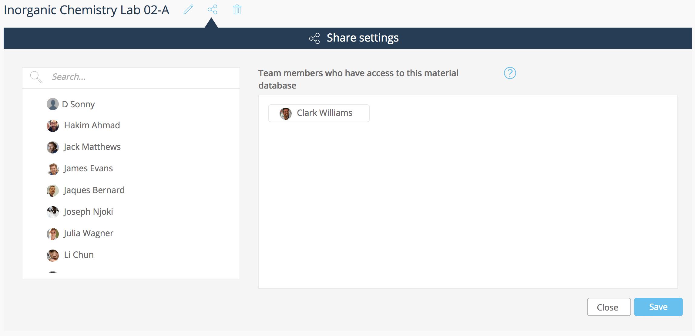 ELN material database share settings